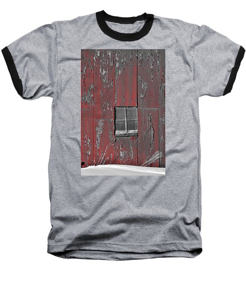 Zink Rd Barn Window Bw Red Baseball T-Shirt by Daniel Thompson
