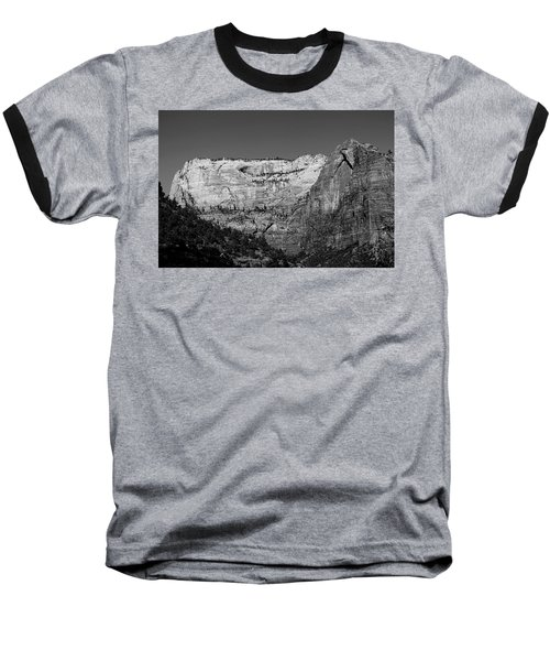 Zion Cliff And Arch B W Baseball T-Shirt