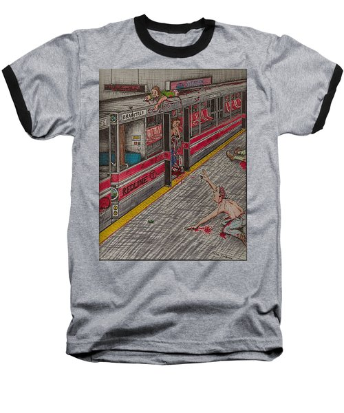 Zombies On The Red Line Baseball T-Shirt