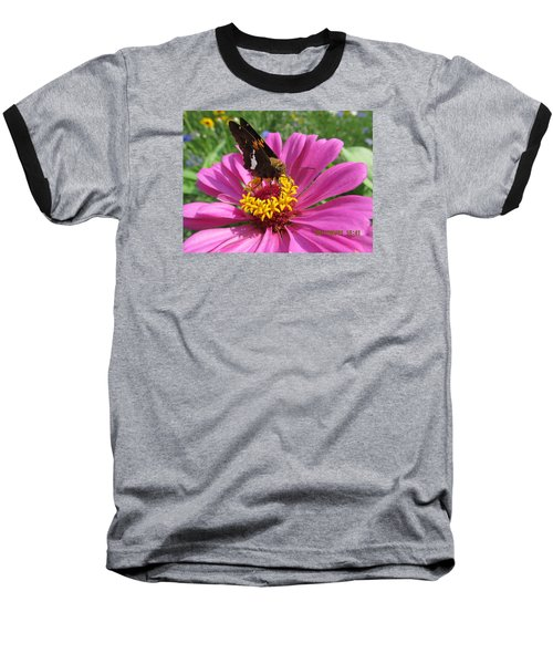 Baseball T-Shirt featuring the photograph  Butterfly On Pink Flower by Tina M Wenger