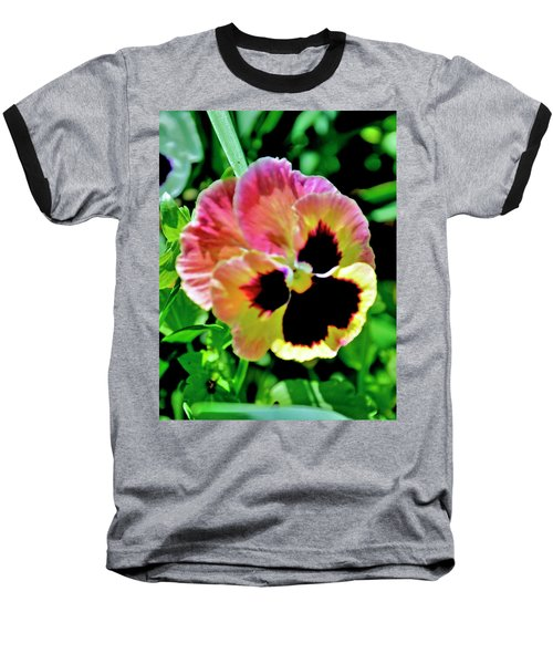 Pink And Yellow Pansy Baseball T-Shirt