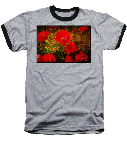 Baseball T-Shirt featuring the photograph  Poppies by Beverly Cash