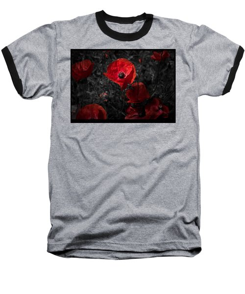 Baseball T-Shirt featuring the photograph  Poppy Red by Beverly Cash