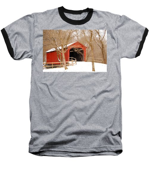 Baseball T-Shirt featuring the photograph  Sandy Creek Cover Bridge  by Peggy Franz
