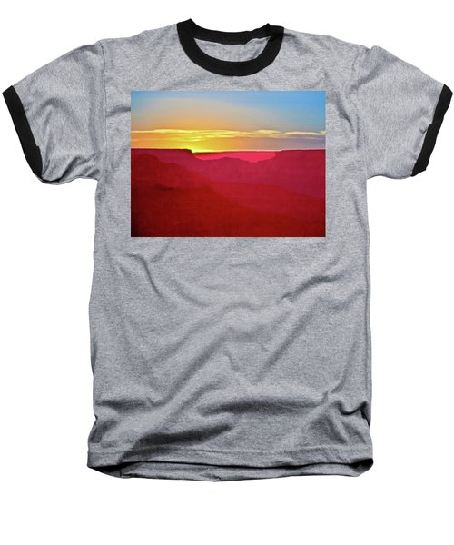 Baseball T-Shirt featuring the painting   Sunset At Grand Canyon Desert View by Bob and Nadine Johnston