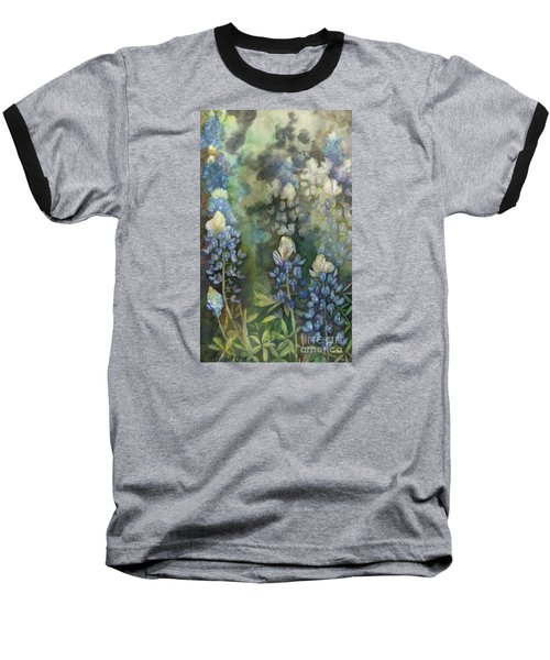 Baseball T-Shirt featuring the painting Bluebonnet Blessing by Karen Kennedy Chatham
