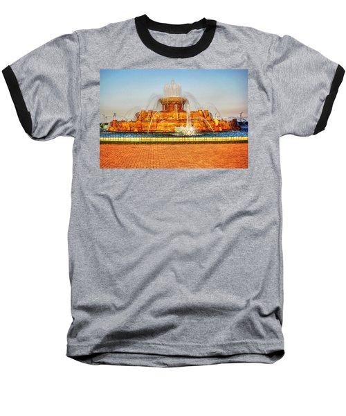 Buckingham Fountain Baseball T-Shirt by Dan Stone