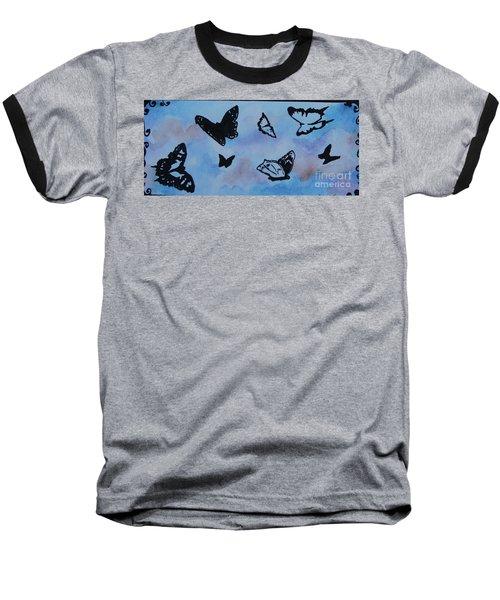 Chasing Butterflies Baseball T-Shirt by Jan Bennicoff