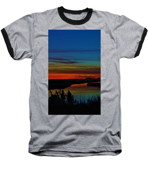 Deep Marshland Sunset Baseball T-Shirt