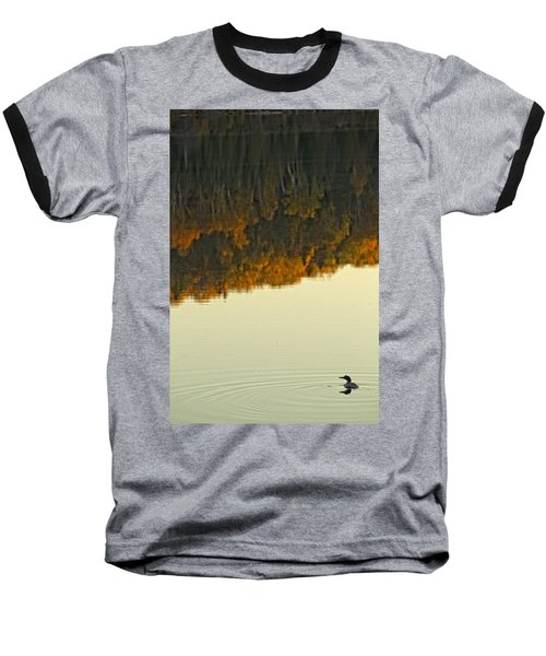 Loon In Opeongo Lake With Reflection Baseball T-Shirt