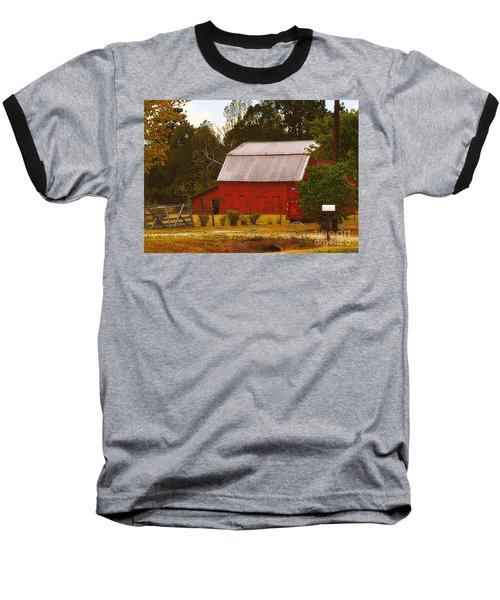 Baseball T-Shirt featuring the photograph Ozark Red Barn by Lydia Holly