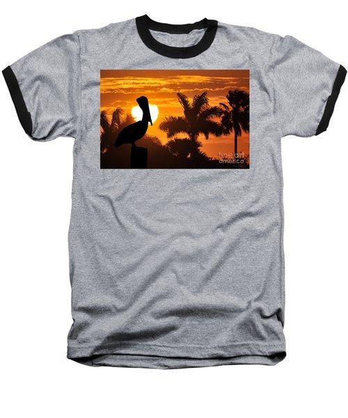 Baseball T-Shirt featuring the photograph Pelican At Sunset by Dan Friend