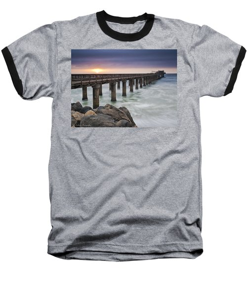 Pier At Sunset Baseball T-Shirt