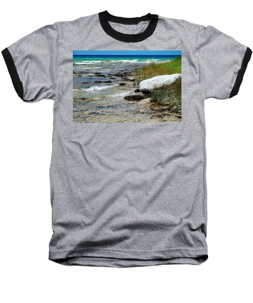 Quiet Waves Along The Shore Baseball T-Shirt by Janice Adomeit