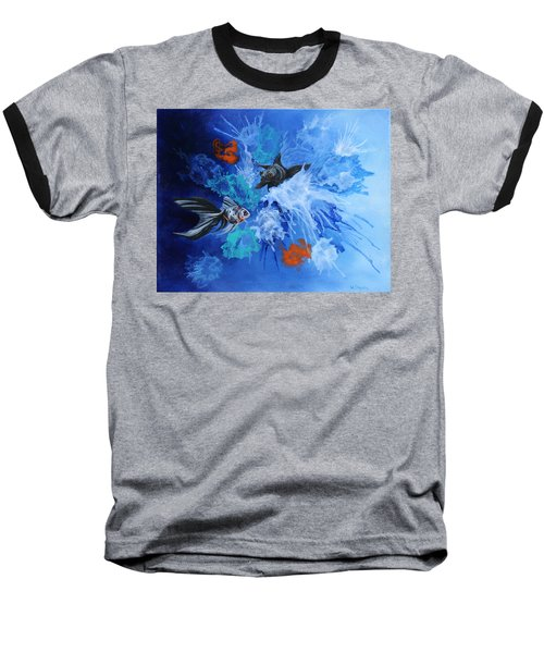 Baseball T-Shirt featuring the painting Richies Fish by Wendy Shoults