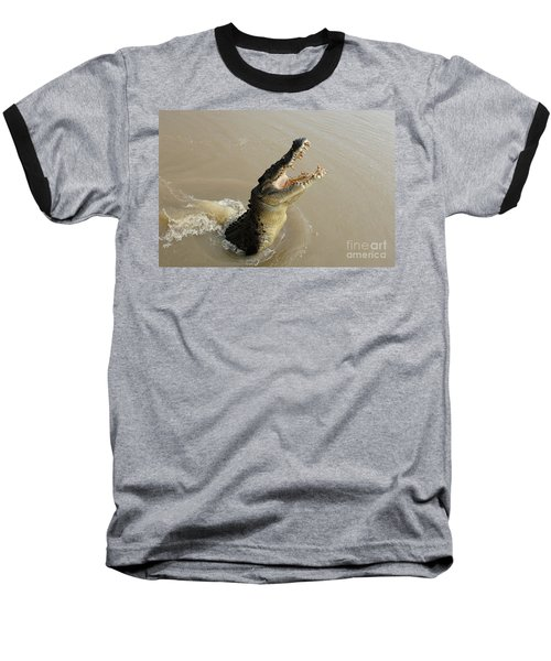 Salt Water Crocodile 2 Baseball T-Shirt by Bob Christopher