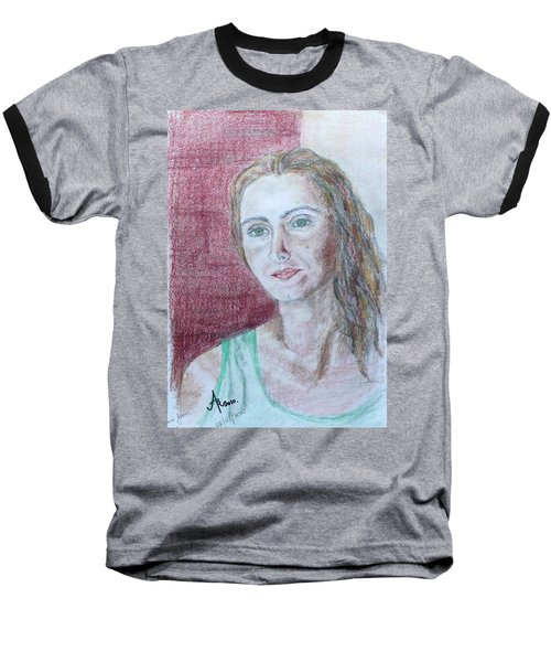 Baseball T-Shirt featuring the drawing Self Portrait by Anna Ruzsan