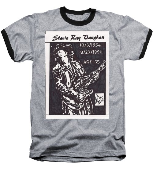 Baseball T-Shirt featuring the drawing Stevie Ray Vaughn by Jeremiah Colley