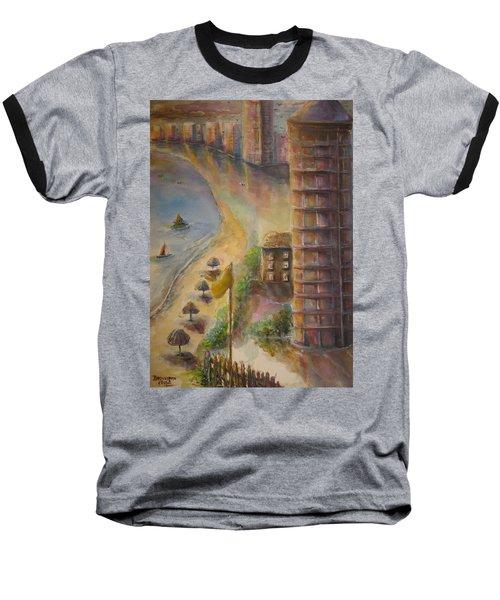 Baseball T-Shirt featuring the painting Sunset Beach by Bernadette Krupa