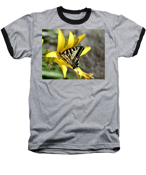 Swallowtail Yellow Lily Baseball T-Shirt