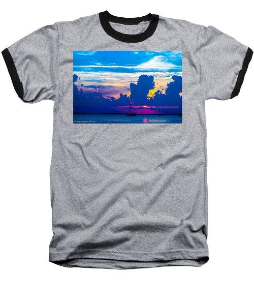 The Purple Sunset Baseball T-Shirt by Shannon Harrington