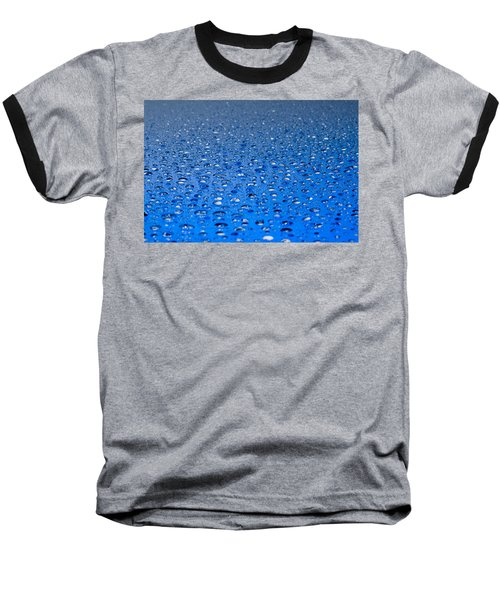 Water Drops On A Shiny Surface Baseball T-Shirt by Ulrich Schade