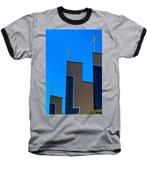 Baseball T-Shirt featuring the photograph Crosses Of Livingway Church by Ed Gleichman