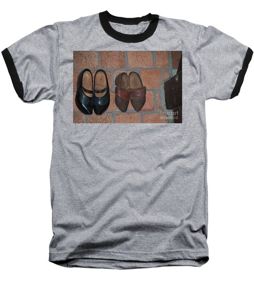 Baseball T-Shirt featuring the digital art Old Wooden Shoes by Carol Ailles