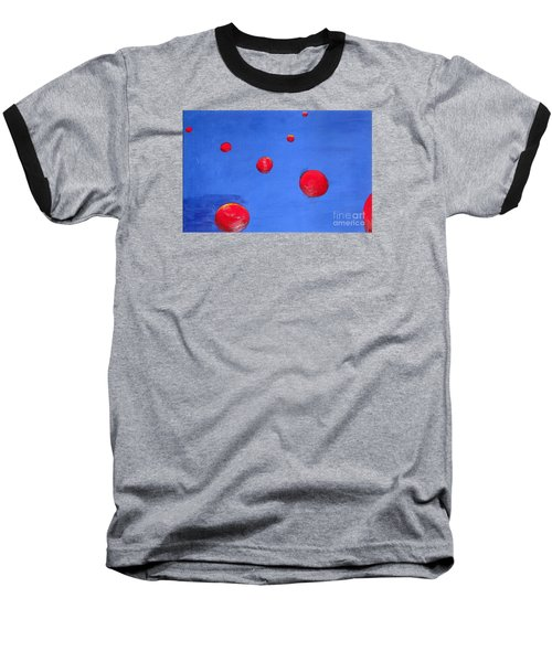 Baseball T-Shirt featuring the painting Orbs In Space 1 -- Crossing Paths by Rod Ismay