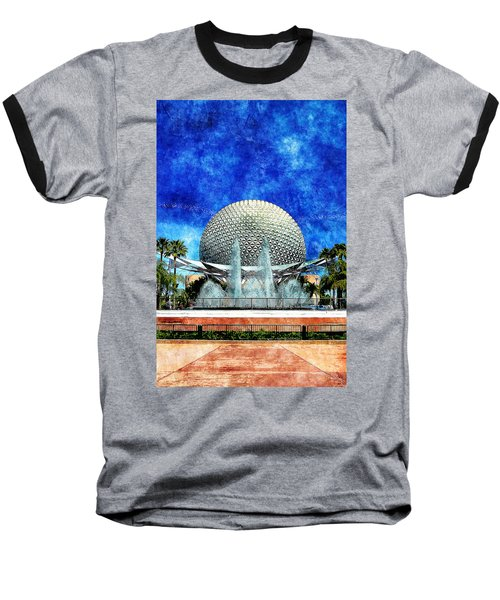 Baseball T-Shirt featuring the digital art Spaceship Earth And Fountain Of Nations by Sandy MacGowan
