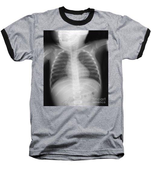 Swallowed Nail Baseball T-Shirt by Ted Kinsman