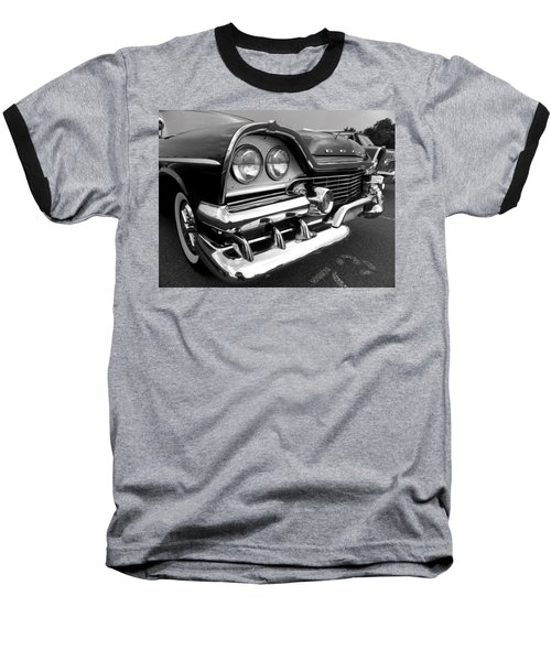 58 Plymouth Fury Black And White Baseball T-Shirt