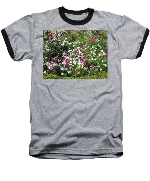A Bed Of Beautiful Different Color Flowers Baseball T-Shirt by Ashish Agarwal
