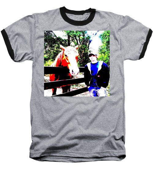 Baseball T-Shirt featuring the photograph a Boy and his Horse by George Pedro