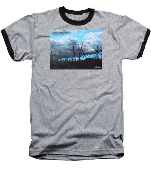 Baseball T-Shirt featuring the painting A Cloudy Day by Dan Whittemore