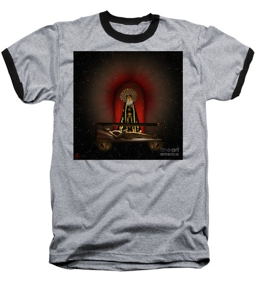 A Cosmic Drama Baseball T-Shirt by Rosa Cobos