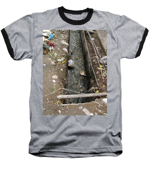 Baseball T-Shirt featuring the photograph A Dirty Drain With Filth All Around It Representing A Health Risk by Ashish Agarwal