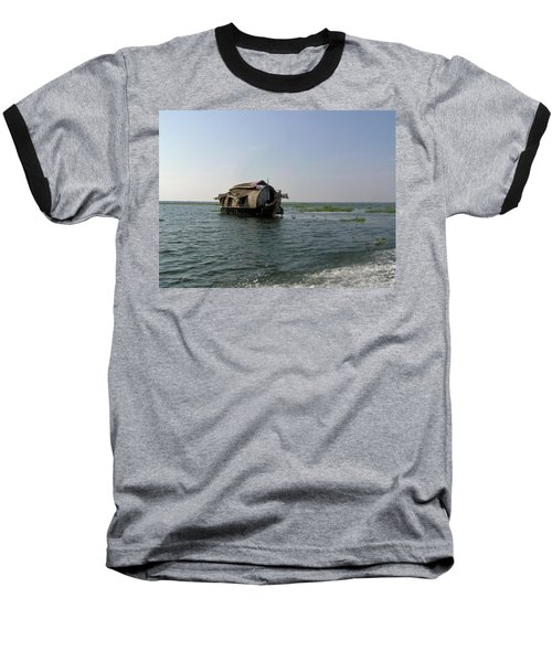Baseball T-Shirt featuring the photograph A Houseboat Moving Placidly Through A Coastal Lagoon In Alleppey by Ashish Agarwal