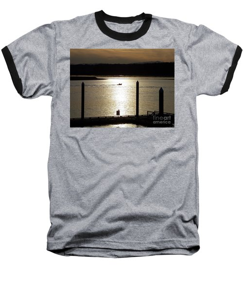 Baseball T-Shirt featuring the photograph A Lone Boat At Sunset by Chalet Roome-Rigdon