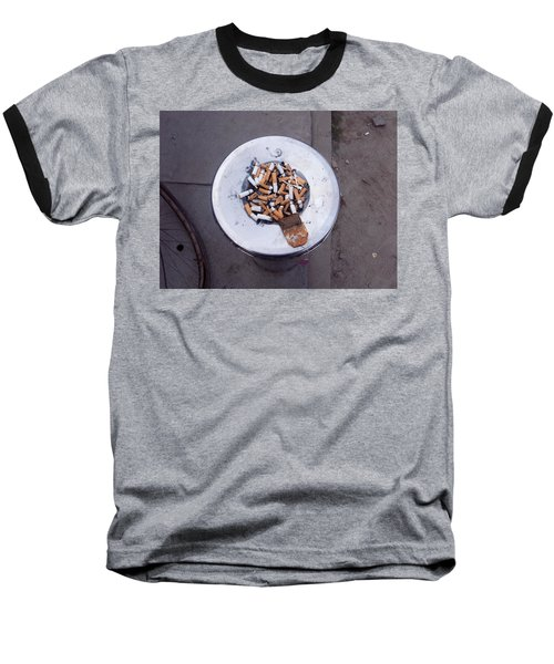 Baseball T-Shirt featuring the photograph A Lot Of Cigarettes Stubbed Out At A Garbage Bin by Ashish Agarwal
