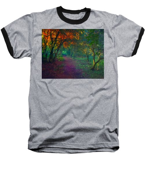 Baseball T-Shirt featuring the painting A Place Of Mystery by Joe Misrasi