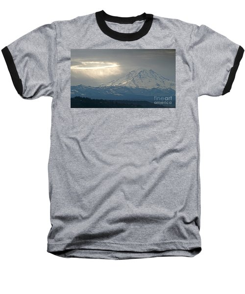 A Ring Of Bright Light Beside Mount Rainier Baseball T-Shirt by Sean Griffin