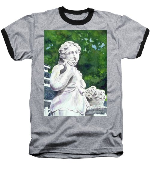 Baseball T-Shirt featuring the painting A Statue At The Wellers Carriage House -1 by Yoshiko Mishina