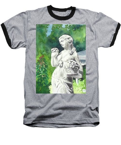 Baseball T-Shirt featuring the painting A Statue At The Wellers Carriage House -2 by Yoshiko Mishina