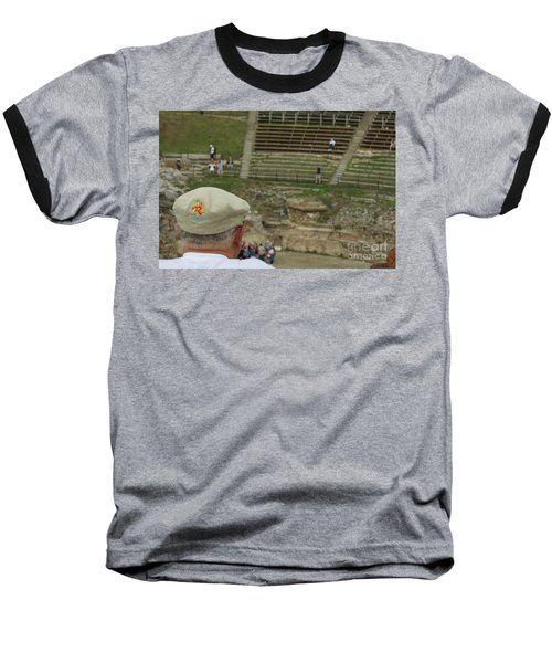 A Tourist And The Ancient Theater Of Taormina Baseball T-Shirt