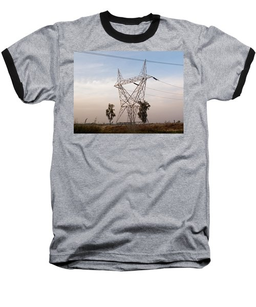 A Transmission Tower Carrying Electric Lines In The Countryside Baseball T-Shirt by Ashish Agarwal