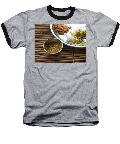 A Typical Plate Of Indian Rajasthani Food On A Bamboo Table Baseball T-Shirt by Ashish Agarwal