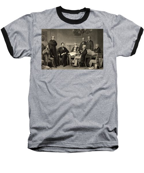 Baseball T-Shirt featuring the photograph Abraham Lincoln At The First Reading Of The Emancipation Proclamation - July 22 1862 by International  Images