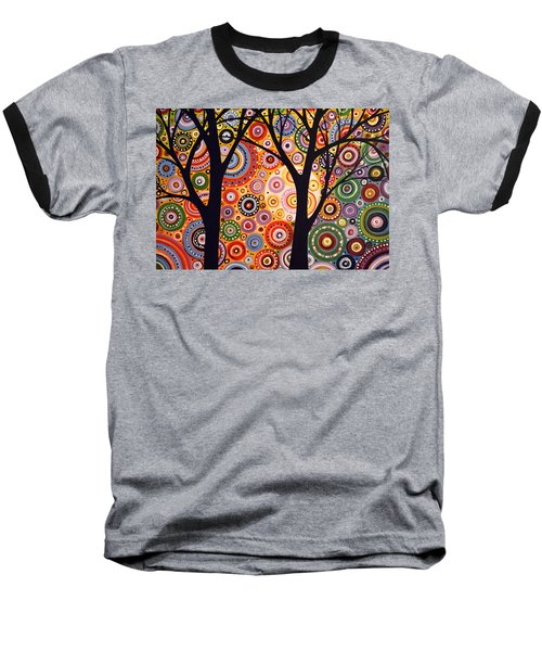 Baseball T-Shirt featuring the painting Abstract Modern Tree Landscape Distant Worlds By Amy Giacomelli by Amy Giacomelli