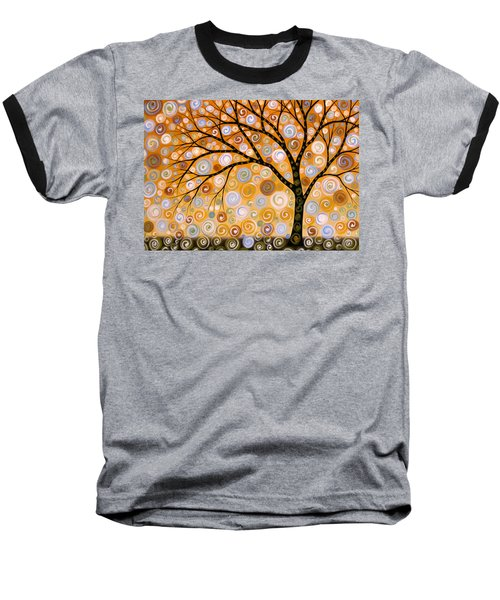 Baseball T-Shirt featuring the painting Abstract Modern Tree Landscape Dreams Of Gold By Amy Giacomelli by Amy Giacomelli